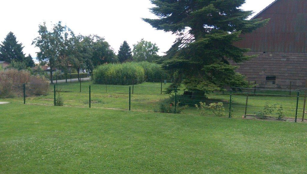 Grüne Metallzäune für den Garten