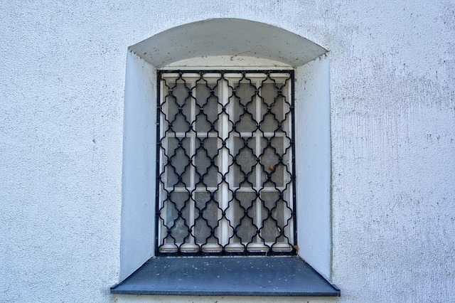 Fenstergitter Metall mit Schwungmuster